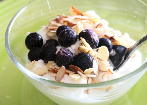 Yogurt, blueberries, and almonds