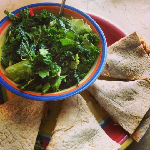 Salad and Low Carb Cheesy Tortillas