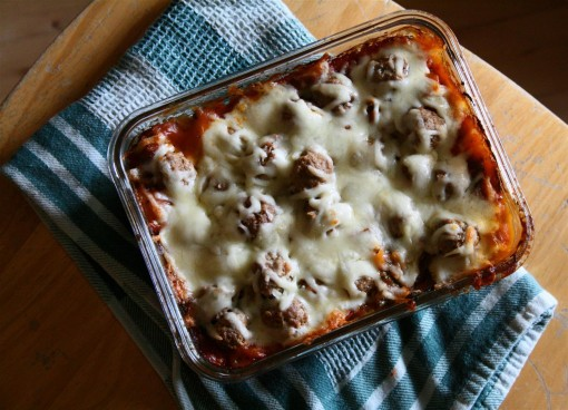 Spaghetti Bake with Meatballs (Low Carb)