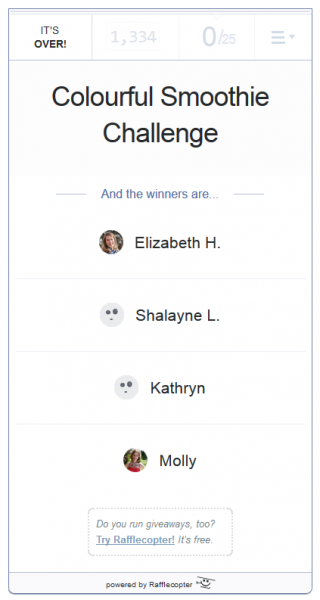 Winners selected by Rafflecopter