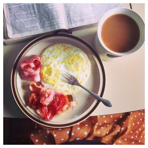 Eggs, bacon, and coffee - this is how I like to start my day!