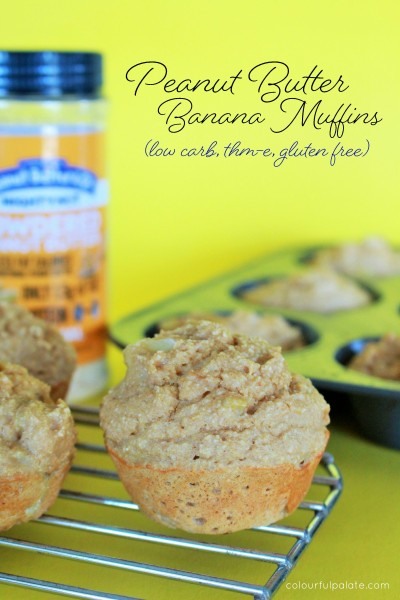 Peanut Butter and Banana Muffin Recipe (low carb, thm-E, gluten free)