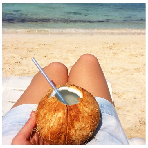 Fresh coconut water on the beach