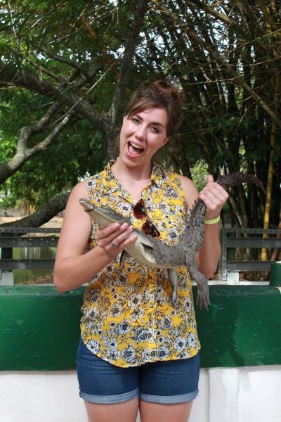 Holding a crocodile in Cuba